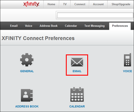 XFINITY Connect - Preferences screen calling out Email