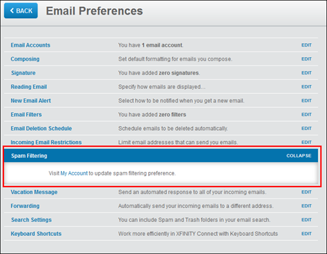 XFINITY Connect - Email Preferences screen