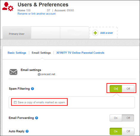 XFINITY My Account - Email Settings tab with Spam Filtering options selected