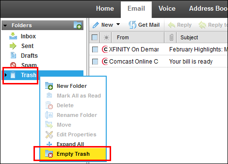 XFINITY Connect Email Folders view, with Empty Trash selected