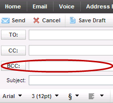 XFINITY Connect - sending emails - adding email addresses to the BCC (blind carbon copy) field