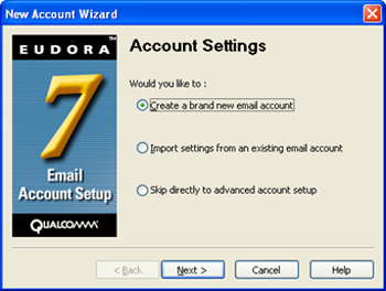 Eudora 7 - New Account Wizard - Create a brand new email account