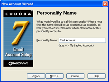 "Eudora 7 - New Account Wizard - enter ""Personality Name"""