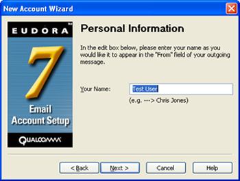 Eudora 7 - New Account Wizard - enter your name