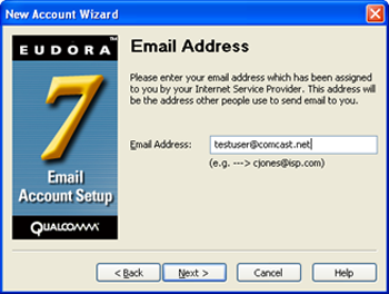 Eudora 7 - New Account Wizard - enter email address