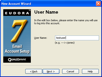 Eudora 7 - New Account Wizard - enter user name