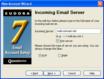 Eudora 7 - New Account Wizard - enter mail.comcast.net