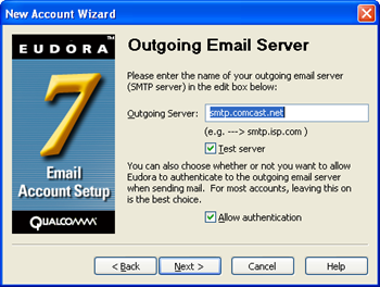 Eudora 7 - New Account Wizard - enter smtp.comcast.net