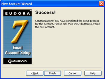 Eudora 7 - New Account Wizard - account setup complete