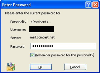 Eudora 7 - password verification screen