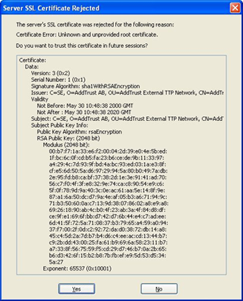 Eudora 7 - example of unknown SSL certificate