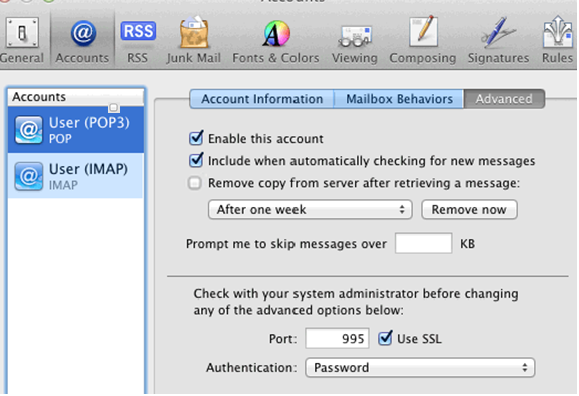 Mac OS Email - Option to uncheck Remove copy from server after retrieving a message displays