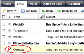 Email inbox with comcast logo in quot from quot field