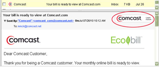 Email from Comcast with the Comcast icon and the full Comcast logo in the upper right corner of the email body.