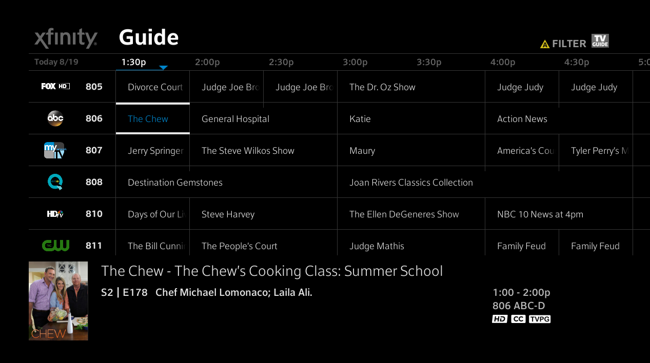 The guide for XFINITY on the X1 Entertainment Operating System displays channels, programs and times. Details for the selected program appear at the bottom of the screen.