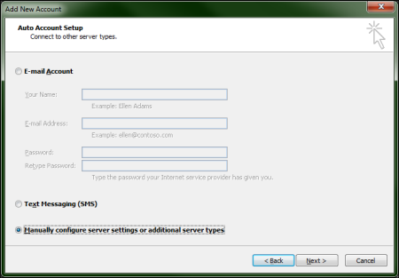 On the add new account screen, the Manually configure server settings or addition server types option is selected at the bottom.