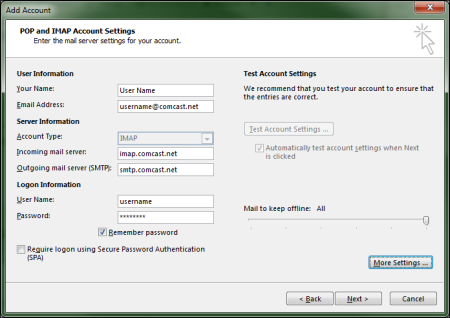 On the Add Account screen, user information has been entered and the More Settings button is highlighted at lower right.