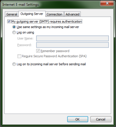 On the Outgoing Server tab of the Internet E-mail Settings screen, The My Outgoing server (SMTP) requires authentication option is checked and the Use same settings as my incoming mail server is selected at the top.