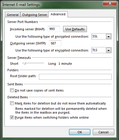 On the Advanced tab of the Internet E-mail Settings screen, Incoming and Outgoing server information is entered at the top.