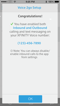 The Voice 2go congratulations screen summarizes your selections for inbound and outbound calls and includes a message that it may take several minutes to complete the activation.  There is an OK button at the bottom of the window.