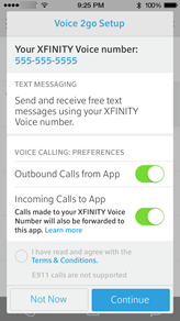 "Set up screen with option to activate inbound and outbound calls by sliding the appropriate Preference button on or off.  At the bottom of the screen choose ""Not Now"" (left) or ""Continue"" (right)."