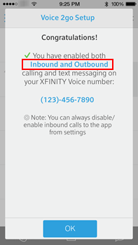 The voice to go congratulations screen summarizes the customer's selections for inbound and outbound calls and includes a message that it may take several minutes to complete the activation