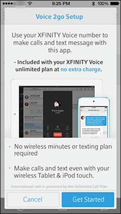 A sign up screen for voice to go displays a cancel button and a get started button