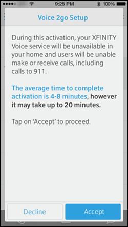 A screen informs customers that Xfinity voice service will not be available during the activation of voice to go and that the process routinely takes four to eight minutes but could take as long as twenty minutes