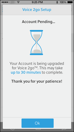 "A screen marked account pending has a reminder that the upgrade may take up to 30 minutes to complete, with an ""OK"" button."