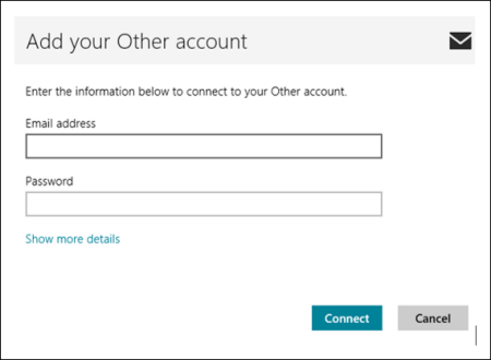 On the Add your Other account screen, the Show more details link is under the email address and password fields.