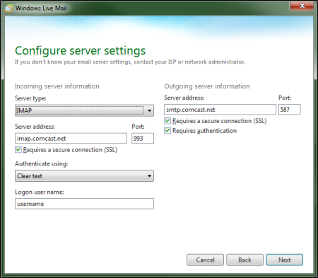 On the Configure server settings screen, 587 has been entered into the Port field in the Outgoing server information section