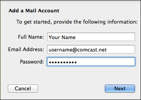In the Add a Mail Account screen, the Next button is highlighted.