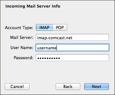 In the Incoming Mail Server Info screen, the Account Type, Mail Server, User Name and Password fields are populated and the Next button is highlighted.