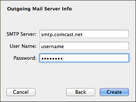 In the Outgoing Mail Server Info screen, the SMTP Server, User Name and Password fields are populated and the Create button is highlighted.