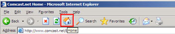 Internet Explorer - How to click the home icon in your toolbar.
