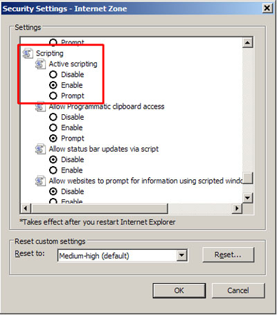 Security Settings - Scripting - Enable selected