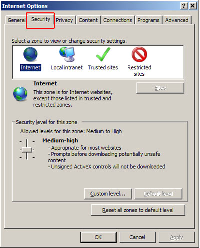 Internet Options -Security tab