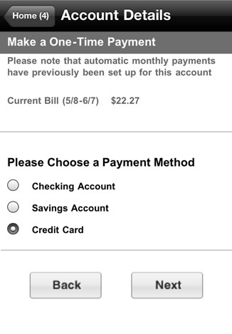 Payment method options are displayed on the Account Details screen