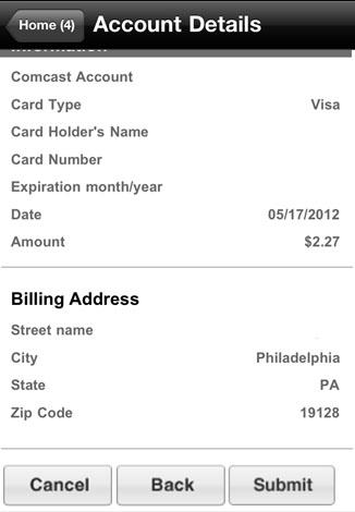 A summary of billing details is displayed on the account details screen