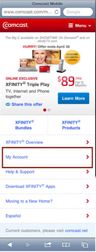 The My Account option is selected on a Comcast mobile screen