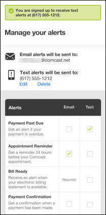 My Account on a Mobile Device: Manage your alerts screen displays email and mobile numbers provided by customer