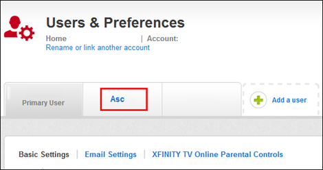 My Account - Users & Preferences screen
