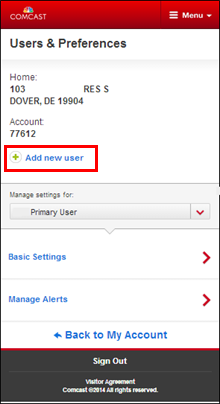 Mobile device: Users & Preferences landing page with Add new user highlighted.