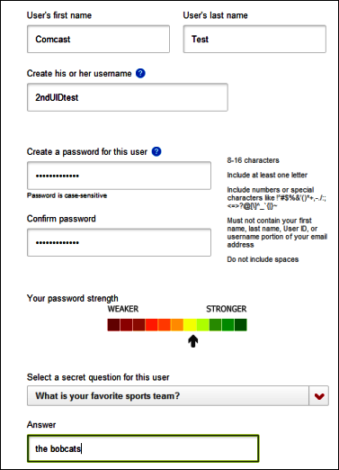 User information form displays