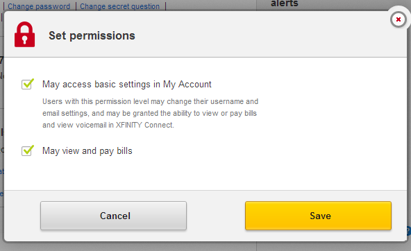"Set permissions screen. ""May access basic settings in My Account"" and ""May view and pay bills"" selected"