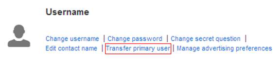 """Transfer primary user"" selected under ""Username"""