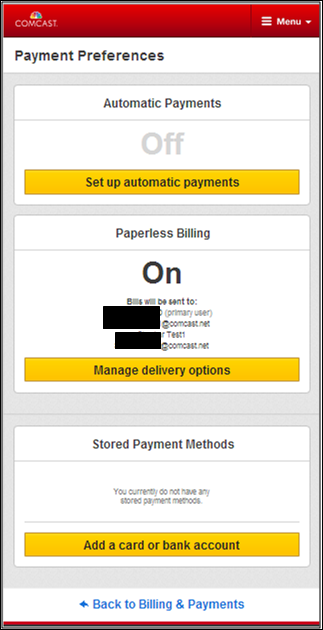 Payment Preferences screen in My Account. Yellow set up automatic payments button near top.