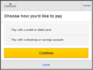 Paying your Comcast Bill with a Mobile Device - Choose method of payment screen