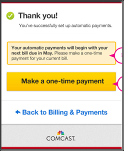 Payment confirmation screen notes when automatic payments will begin.