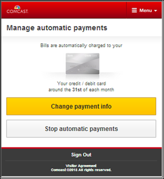 Manage automatic payments screen allows user to change or stop automatic payments.